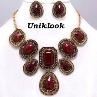 Gold Navy Blue Design Bib Statement Chunky Necklace Jewelry Set