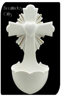 OF JESUS HOLY WATER FONT FOR CHURCH OR HOME DEVOTION WHITE AND GOLD