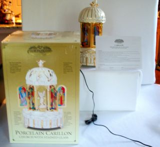 Mr Christmas Porcelain Carillon Church Music Box Stained glass