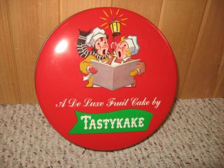 Vintage Tastykake Advertising Tin Christmas Fruit Cake