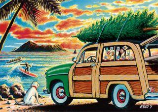 12 Hawaiian Holiday Card Hawaii Christmas Surfing Surf
