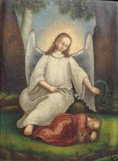 Guardian Angel and Sleeping Child 19th Century Oil