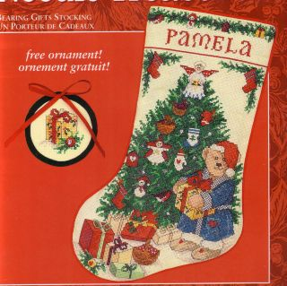 Cross Stitch Christmas Stocking Kit Bearing Gifts Cheng Bear Angel