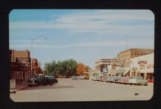 1950s Business District Old Cars Pickup Truck Stores Signs Greybull WY