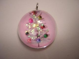 VINTAGE STYLE PINK ALUMINUM SILVER CHRISTMAS TREE BUBBLE CHARM