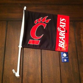 NCAA University of Cincinnati Bearcats Car Window Flag New NWT