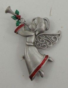 Vtg Brooch Pin JJ Angel Christmas Blow Trumpet Pewter