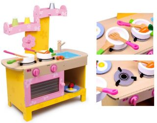 Wooden Play Kitchen Childrens Market Food Accessory Toys Shop Oven