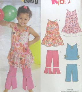 Childs Dress Top Pants Sewing Pattern Ruffle Flounce New Look 6612
