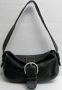 CHRISTOPHER KON Black Pebbled Leather Hobo,Silver Buckle Front Strap