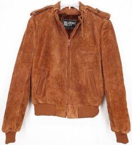 Vtg Leather Loft® Suede Coat Cafe Racer Motorcycle Fur Jacket Brown s
