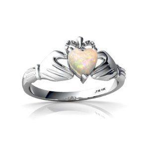 14k White Gold Heart Genuine Opal Celtic Claddagh Ring