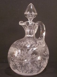 Antique ABP Cut Glass SIGNED SINCLAIRE Pitcher Decanter Etched Blown