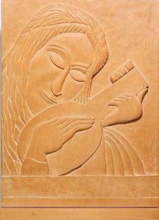 Relief Wood Art Deco Sculpture of A Mandolin Player Circa 1950