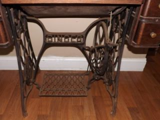 Antique Singer Sewing Machine Tiger Oak Table and Iron Treadle Base