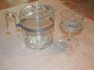 Vintage Pyrex 9 Cup 7759 Stove Top Percolator Glass Coffee Pot