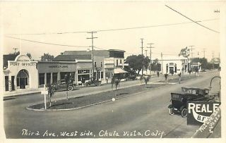 CA Chula Vista California RPPC Third Avenue West Side Post Office