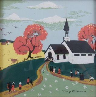 1894 1965 California Artist Print Small Church on A Hill