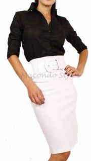 Career Fitted Long High Waist Knee Pencil Skirt Belted Belt Fitted