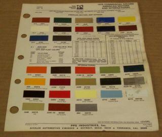 AMC International 1976 Truck Colors Paint Chip Sheet