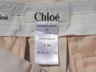 Skinny Fit $825 Chloe Winter White Wool Flat Front Cuffed Pants 36F