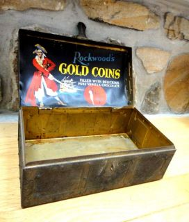 Tin Pirate Chest Rockwood Gold Coins Chocolate Candy Box w PIX