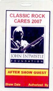 Classic Rock Cares 2007 Laminated Backstage Pass AC DC