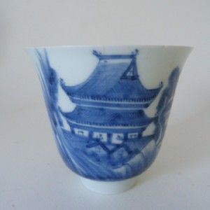 18th Century Chinese Blue White Fine Porcelain Beaker Yongzheng