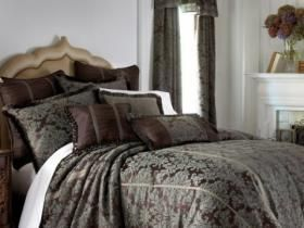 Chris Madden Wynscape Queen Comforter Set NEW Blue Brown Damask