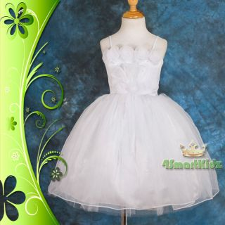 CLEARANCE SALE White Wedding Flower Girl Flowergirl Party Dress Size 6