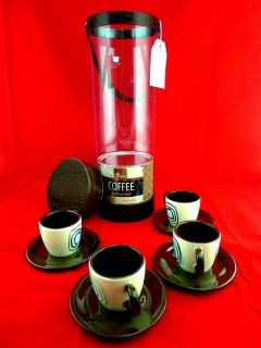 Cafe Claire Espresso Tower Gift Set Cups Saucers Roast Coffee Artsy