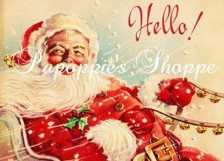 Santa Claus Christmas Fabric Block Vintage HELLO