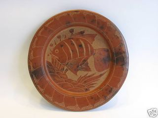 Hand Crafted Clay Pottery Gold Fish Plate Engraved Mint