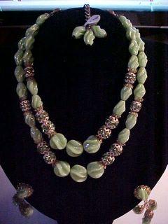 Hobe Jade Green Rhinestone Necklace Dangle Earrings