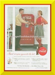 Clubs 1955 Coke Machine Coca Cola Ad Clare Potter Girl Boy RARE