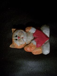 Cute Small Orange White Resin Cat Kitty Kitten Figure Figurine
