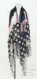 Christian Lacroix Pink & Navy Blue Floral Print Silk Scarf NEW