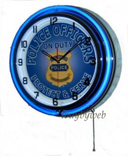 18 Police Officers Double Neon Retro Wall Clock Metal