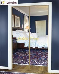 48 80 5 Sliding Closet Door with Bright Gold Stile and Silver Mirror