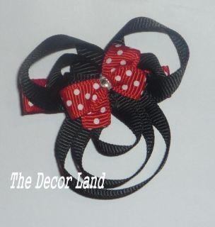 Sculptured Minnie Mouse Black Ribbon Hairclip Girls Hair clip clippie