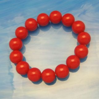 Vintage Lucite Red Beads Stretch Bracelet Large Chunky Bright Pretty