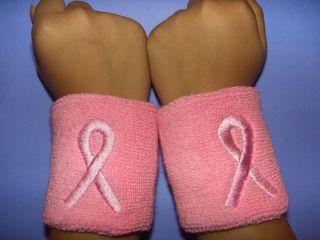 Cancer Awareness Sports Cotton Terry Cloth Wristbands 12 Pieces
