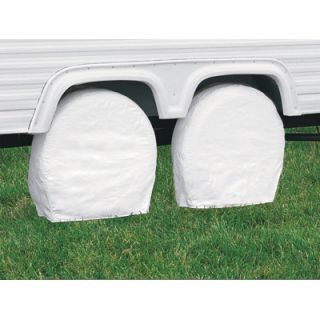 Classic RV Wheel & Tire Storage Covers White Fits 26 3/4in  29in Dia