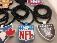 Good Wood Hip Hop Pendant Necklaces Beaded Chains Raptors Bulls