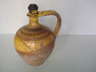 1700s Antique Ottoman Islamic Glazed Pottery Pitcher