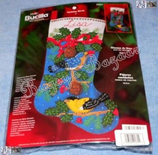 Bucilla Holiday Birds Holly Felt Christmas Stocking Kit