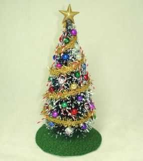 Decorated Christmas Tree Gold Garland Red Tree Skirt Miniatures for