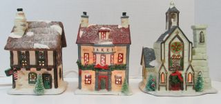 Christmas Valley Set 3 Hollyshire Place Lighted Village Church Bakery