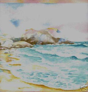 Bath Tropical Watercolor Sunset Beach Wallpaper Border