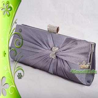 Grey Satin Evening Flap Clutch Handbag Bag Purse Wedding Bridal Party